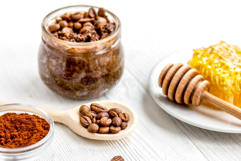 Preparation scrub of ground coffee and honey. On wooden background royalty free stock photography