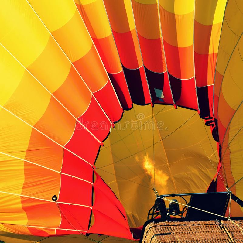 Preparation for the start of the hot air balloon. stock photo