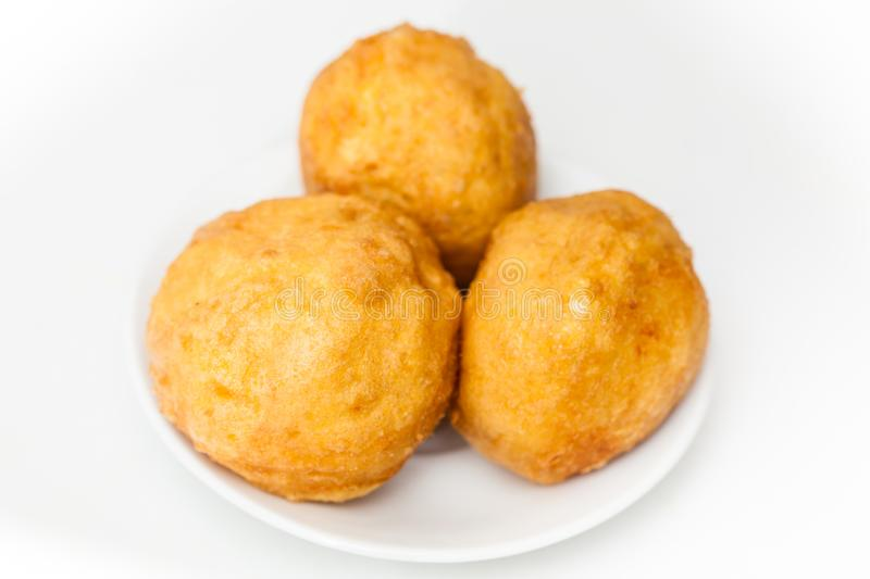 Preparation steps of traditional Colombian dish called stuffed potatoes stock images