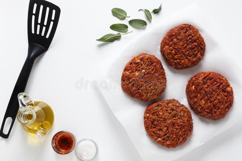 Preparation veggie burger stock photography
