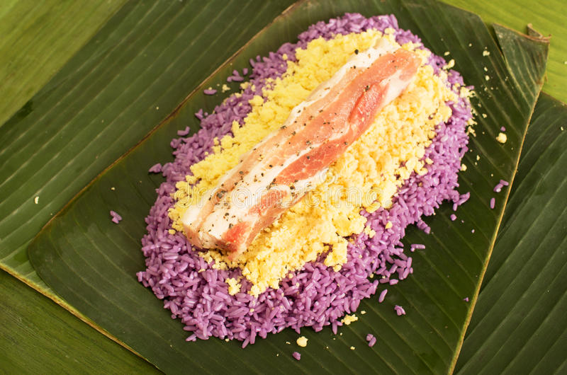 Preparation of Vietnamese pork rice cake royalty free stock photos
