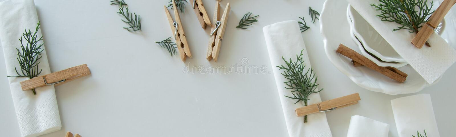 Preparations about arranging the table for winter holidays. Winter decoration stock photos