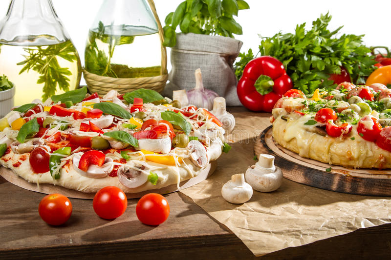 Preparations for baking pizza royalty free stock photography