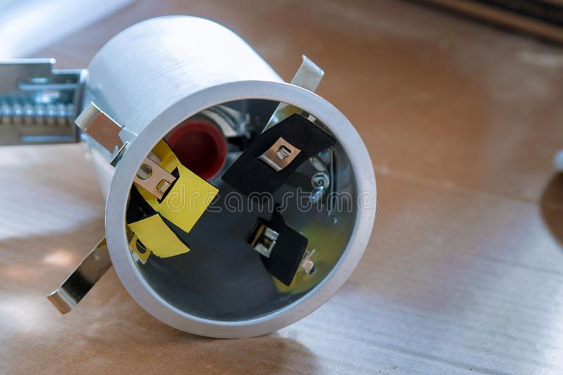 Preparations for ceiling installation electric lamp royalty free stock photography