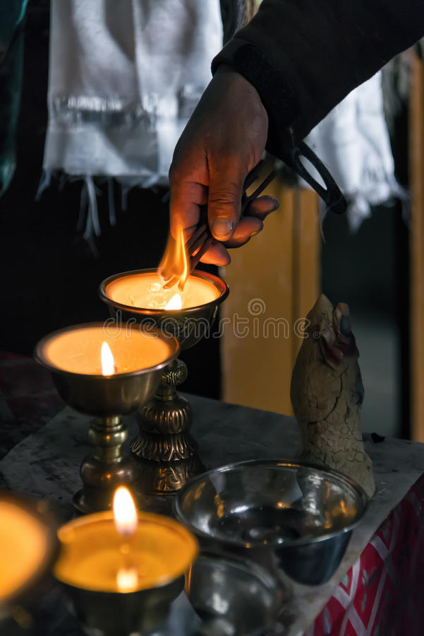 Free Preparations For Morning Prayer In Korzok Monastery In Ladakh, India Royalty Free Stock Photography - 79327227