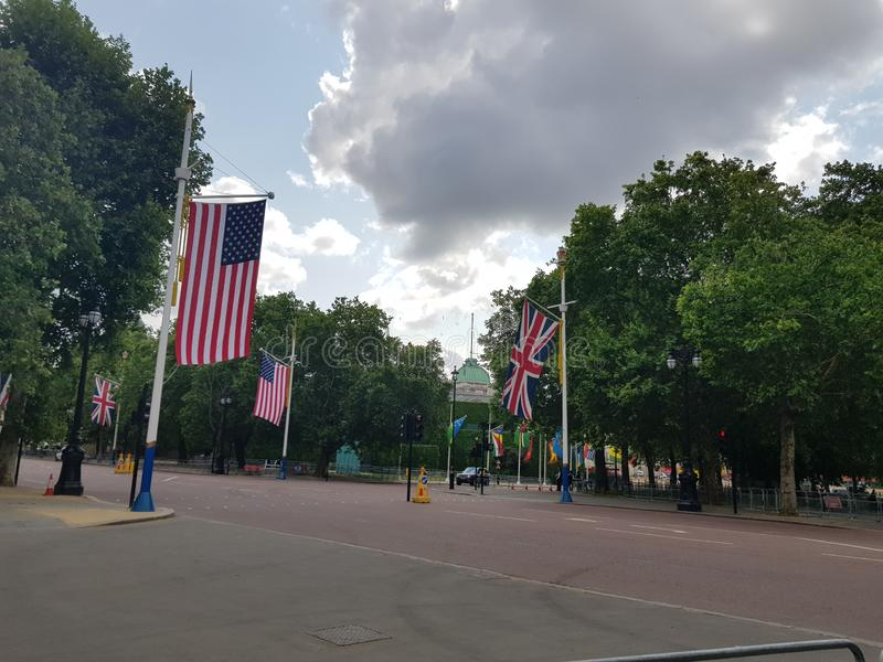 Preparations for US President Donald Trump State Visit in the UK. With US flags on The Mall royalty free stock images