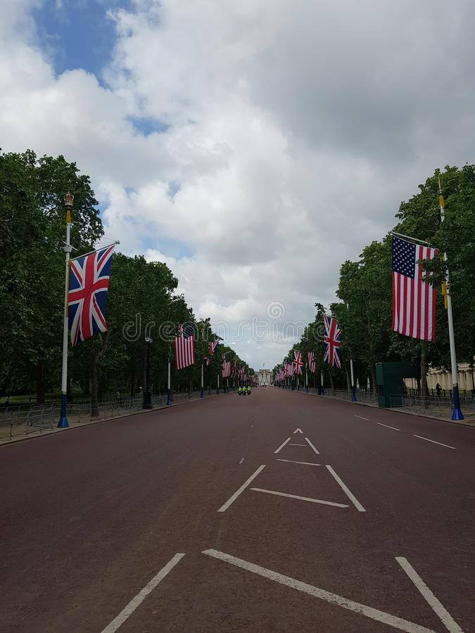 Preparations for US President Donald Trump State Visit in the UK. With US flags on The Mall stock photos
