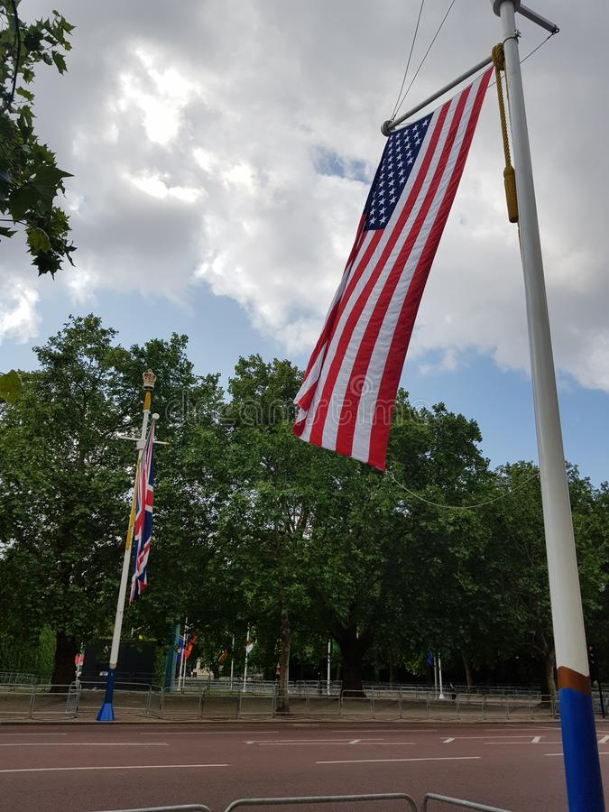 Preparations for US President Donald Trump State Visit in the UK. With US flags on The Mall royalty free stock image