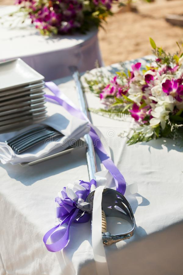 Preparations for the wedding cake. stock photo