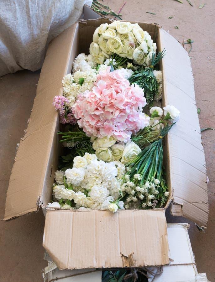 Preparations for wedding flower arrangements royalty free stock photo