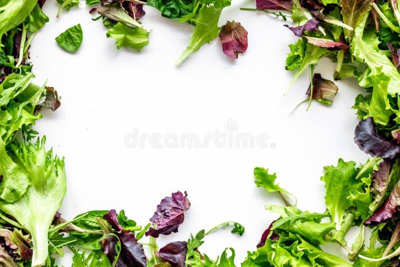 Preparato verde e rosso dell'insalata per alimento sano su derisione bianca di vista superiore del fondo su fotografie stock libere da diritti