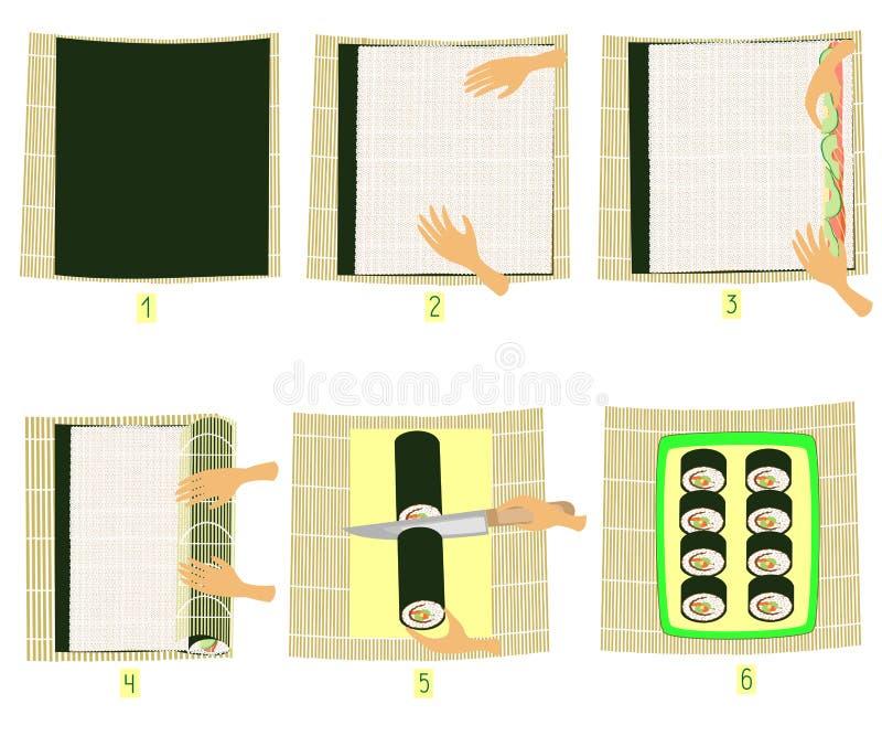 Preparazione dei sushi nelle immagini Istruzione graduale Cucina giapponese nazionale di fai-da-te Rotoli del riso e dei frutti d illustrazione di stock
