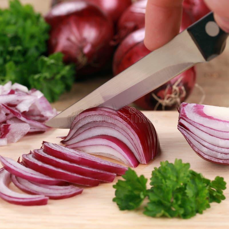 Preparazione dell'alimento: taglio della cipolla rossa immagine stock libera da diritti