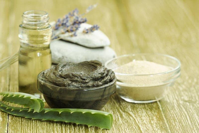Preparazione della maschera cosmetica del fango con aloe vera, lavanda, olio essenziale argilla facciale con le pietre dei prodot fotografia stock
