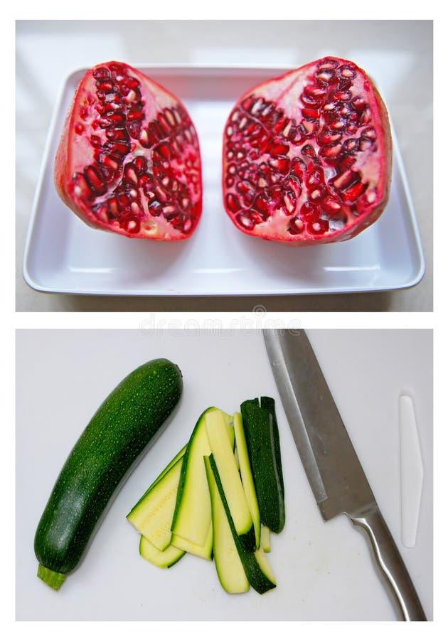 Preparazione zucchini e del melograno fotografia stock libera da diritti