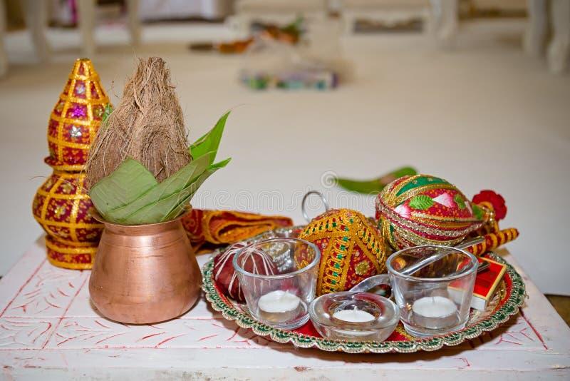 Preparazioni indù di nozze immagini stock