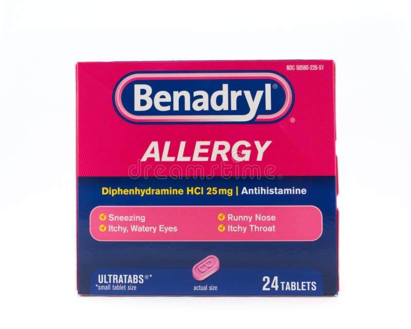 Preparazioni per allergie benadriliche fotografia stock libera da diritti