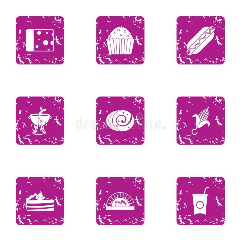 Prepare ест установленные значки, стиль grunge иллюстрация штока