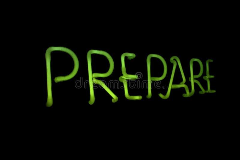 Prepare. The word prepare in Neon light stock photos
