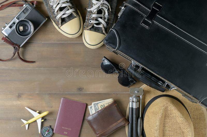 Prepare accessories for travel on vintage tone royalty free stock images