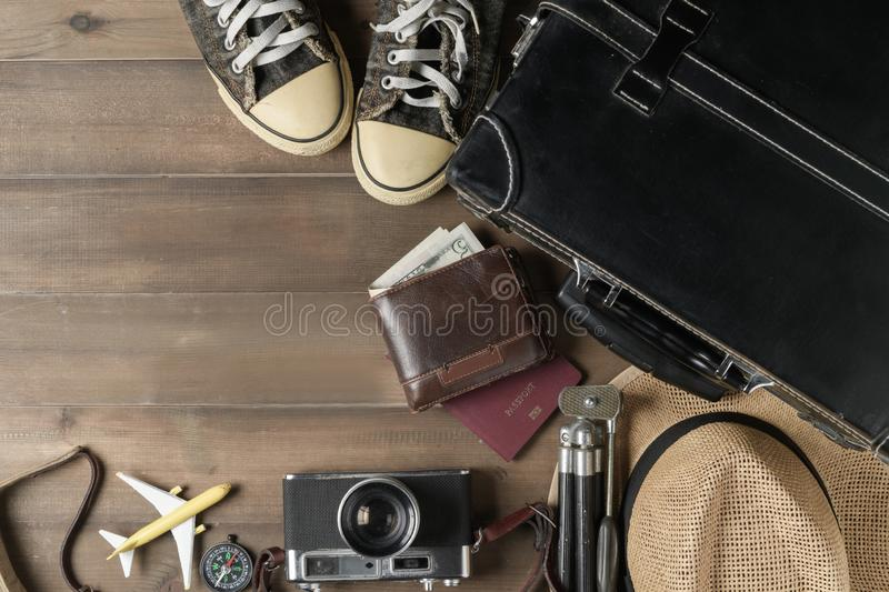 Prepare accessories for travel on vintage tone stock image