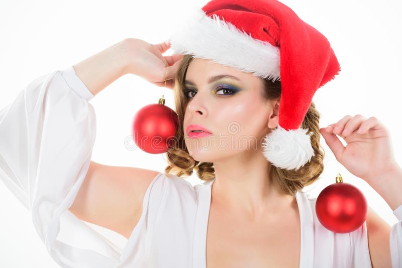 Prepare for christmas. Makeup idea for corporate party. Girl with makeup and hairstyle ready to celebrate. Makeup and. Outfit for christmas party. Woman hold royalty free stock images