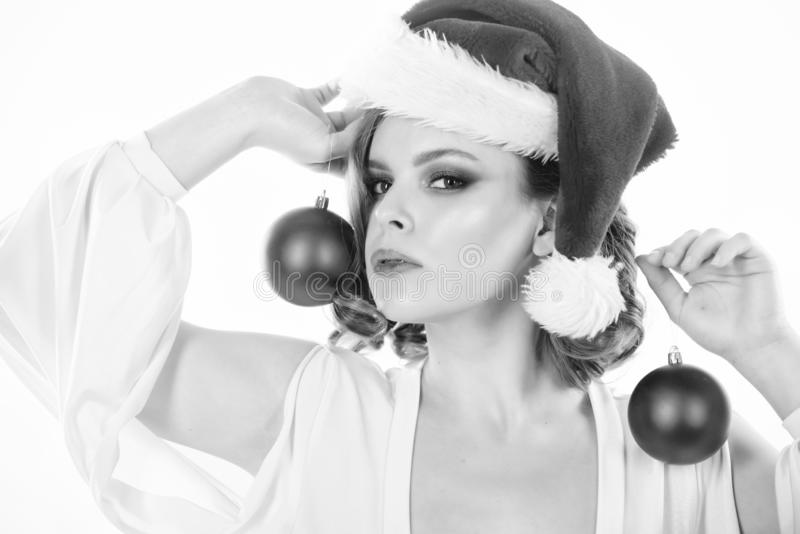 Prepare for christmas. Makeup idea for corporate party. Girl with makeup and hairstyle ready to celebrate. Makeup and. Outfit for christmas party. Woman hold royalty free stock photography