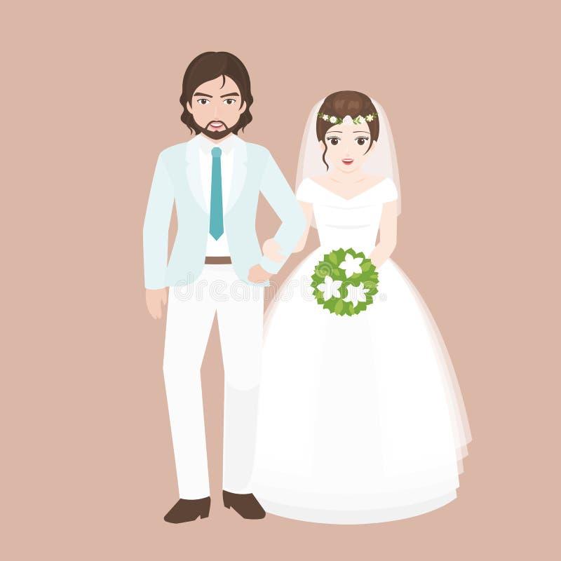 Prepare el brazo del paseo en brazo con el puente, par del amante en concepto del traje de la boda stock de ilustración