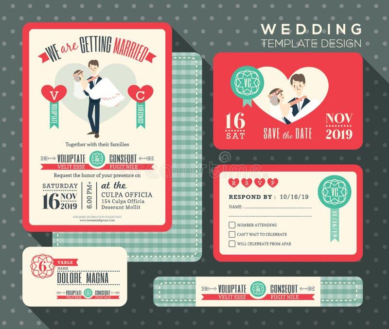 Prepare el diseño determinado de la invitación retra de la boda de la historieta de la novia que lleva stock de ilustración