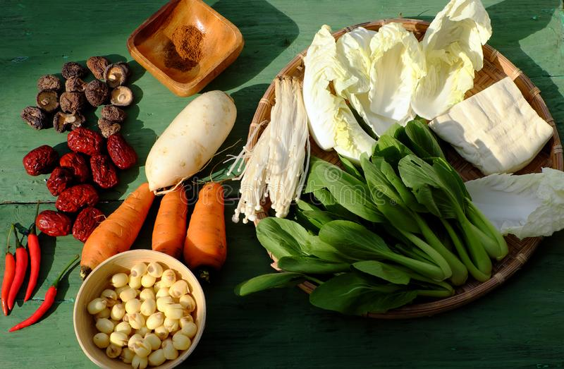 Prepare food ingredient to cook homemade vegan noodles soup stock photos