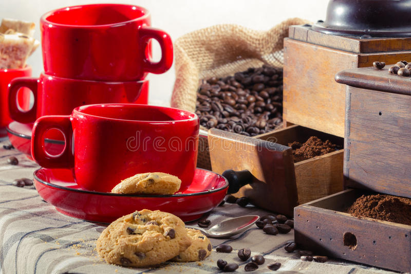 Prepare ingredients for coffee at breakfast stock image