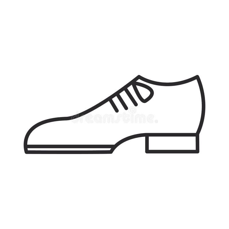 Prepare la línea icono, muestra, ejemplo del vector de los zapatos en el fondo, movimientos editable stock de ilustración