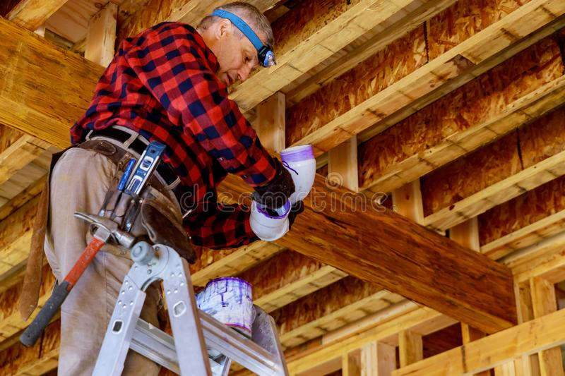 Prepare a pipe joint with sealing pipe renovation new home construction royalty free stock photography