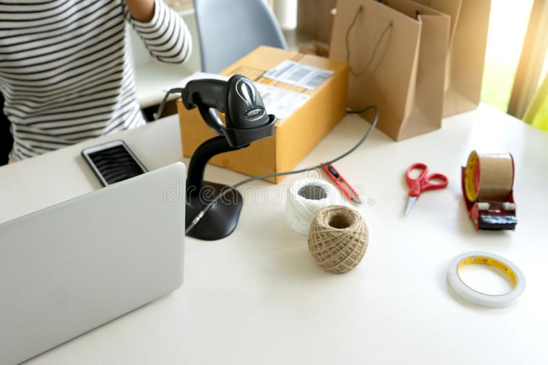 prepare product in the box for send to customer stock photography