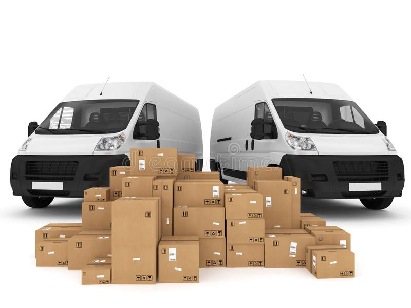 Prepare shipping. 3D Rendering. Loading stack of packed boxes on van . 3D Rendering vector illustration