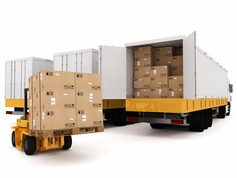 Prepare shipping. Loading stack of packed boxes on truck stock illustration