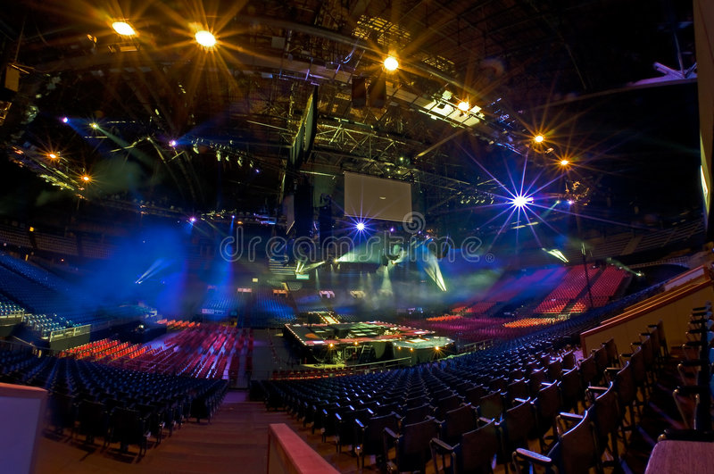 Prepare for show. Multifunctional indoor arena meant for concerts, events and sports