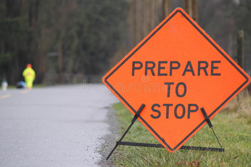 Prepare to Stop Sign. Age warns motorists that a road crew is up ahead stock images