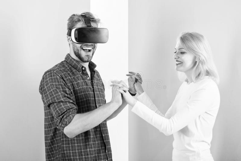 Prepare wedding dance. I like way you move. Found out how to teach him dance. Virtual reality dance school. Man vr. Glasses dancing with happy girl. Learn stock images
