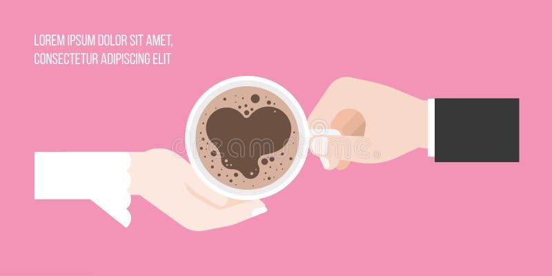 Prepare y tienda un puente sobre sostener la taza de café con espuma de la forma del corazón ilustración del vector