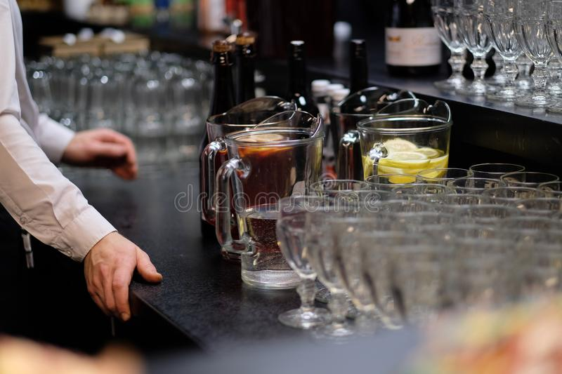 Refreshing Drinks And Wine On The Bar Counter Stock Photo - Image of ...