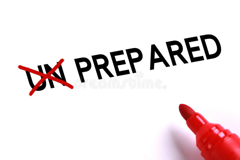 Prepared. Concept with red marker on white background stock photos