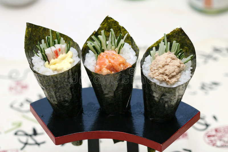 Prepared and delicious sushi taken in studio stock images