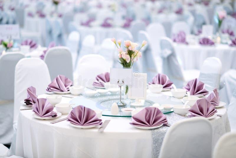 Prepared gala dinner table stock photo
