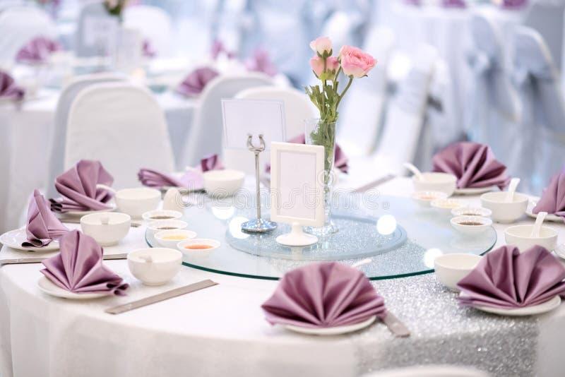 Prepared gala dinner table stock photos