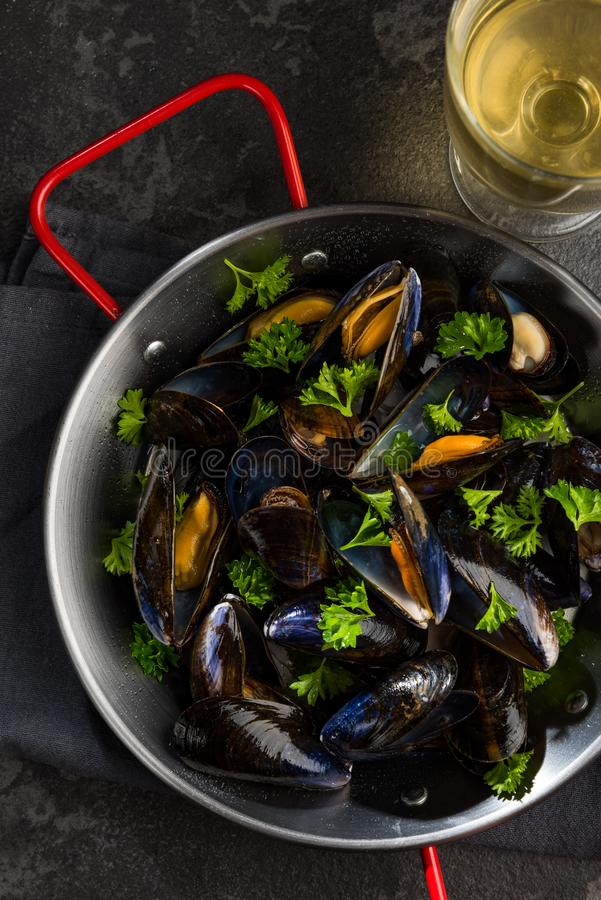 Prepared Mussels in Pan with Parsley, Top View royalty free stock photos