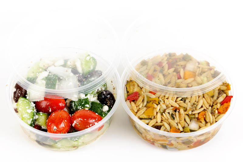 Prepared Salads In Takeout Containers Royalty Free Stock Photo