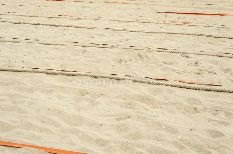 Prepared sand for sports. On the beach royalty free stock photos
