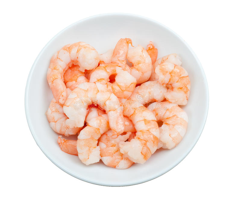 Prepared shrimp in a bowl isolated. On a white background royalty free stock photography