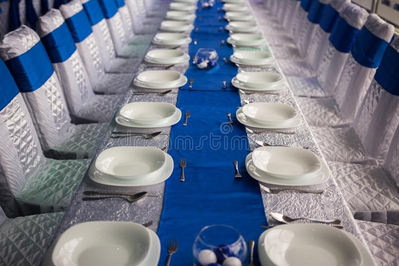 Table in the wedding hall royalty free stock photography